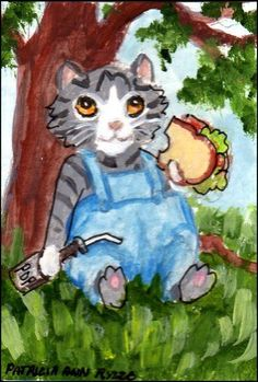 NFAC ACEO Original Jan. Costumed Cats, Kitty at Lunch - Patricia Ann Rizzo #Miniature
