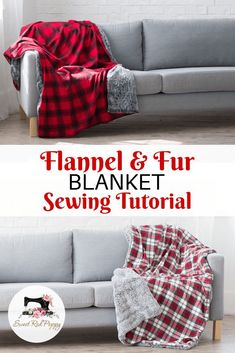 Flannel + Fur Holiday Blanket Flannel + Fur Holiday Blanket Sewing Tutorial with. - Flannel + Fur Holiday Blanket Flannel + Fur Holiday Blanket Sewing Tutorial with JOANN This is a sp - Sewing Hacks, Sewing Tutorials, Sewing Crafts, Sewing Tips, Sewing Ideas, Diy Gifts Sewing, Sew Gifts, Tutorial Sewing, Fur Blanket