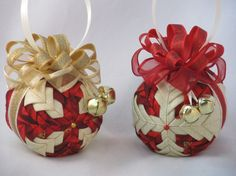 Christmas Ornaments  set of 2  quilted no sew by KCFabricOrnaments