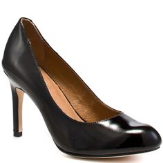 Get a raise with this sophisticated and classy style from Corso Como. Del brings you a round toe closed in pump with a glassy black patent upper and a 3 inch heel. A comfort pad at the sole create the perfect work pump to send you to the top. Black Work Shoes, Black Pumps, Work Pumps, Corso Como, 3 Inch Heels, Black Patent Leather, Me Too Shoes, Color Pop, Peep Toe