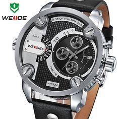 WEIDE New Oversized Men's Quartz Leather Strap Sports Military Watches Luxury Brand Quartz Watch 3ATM Water Resistant
