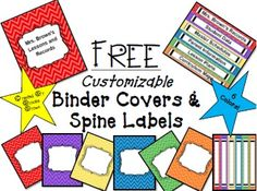 FREE Customizable Binder Covers and Spine Labels in 6 bright colors!