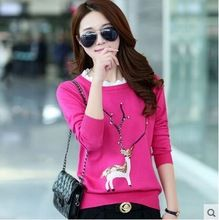 2015 New autumn winter sweater pullover Christmas deer sequined lace collar cashmere sweater women bottoming sweater coat(China (Mainland))