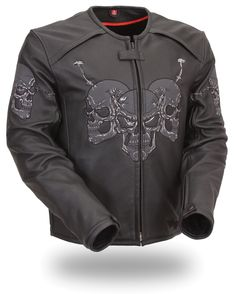 Mens Raceway Skull Leather Motorcycle Jacket by First Mfg.  www.mymotorcycleclothing.com