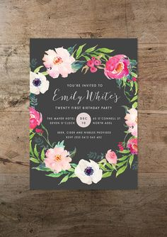 Twenty first invitation floral twenty one 21st birthday invite rmcreative offers the printable bohemian flora bomb birthday invitation if youre a lover of bright watercolour florals this funky design is guaranteed to stopboris Choice Image