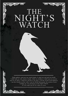 Thread Night's Watch Patrulha da Noite Game of Thrones (pôster minimalista)