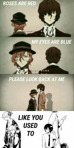 bongou stray dogs Dazai x Chuuya Me Anime, Anime Love, Manga Anime, Dazai Bungou Stray Dogs, Stray Dogs Anime, Pokemon Fusion, Sad Anime Quotes, Anime Group, Anime Ships
