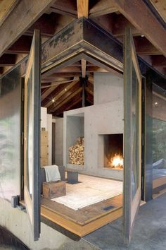 """:: Havens South Designs :: loves this """"Small House Design on a River in a Harmony with Natural Surroundings"""" house and its massive concrete fireplace Interior Architecture, Interior And Exterior, Interior Design, Concrete Architecture, Sustainable Architecture, Exterior Doors, Wc Decoration, Small House Design, Cabin Design"""