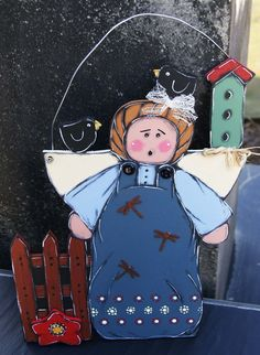 Guardian angel of the garden wooden painted hanging on the door or the wall de la boutique LULdesign sur Etsy