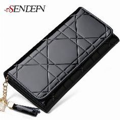 [ 20% OFF ] SENDEFN Large Capacity Lady Party Fashion Long Purse Patent Leather Women Wallets Female Clutch Bag Casual Card Holder Purse