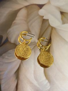 Gold plated earrings and necklace, Gold plated Greek Phaistos Disc Gold Plated Earrings, Gold Earrings, Gold Jewelry, Gold Necklace, Perfect Gift For Her, Gifts For Her, Minimalist Necklace, Stainless Steel Chain, Crystal Pendant