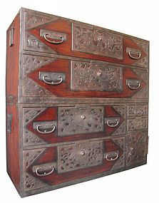 The patina & the hardware are so gorgeous!  Japanese Antique Rare Isho Tansu made all of kiri (paulownia) wood with original deep reddish brown lacquer finish and nice patina. Extensive iron hardware covers most of the front of this piece / Early Meiji Period (c. 1880's).