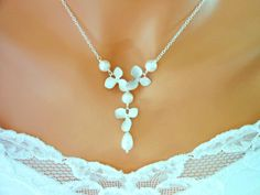 Silver ORCHIDs Necklace White Ivory Pearls Wedding jewelry Bride $39.99