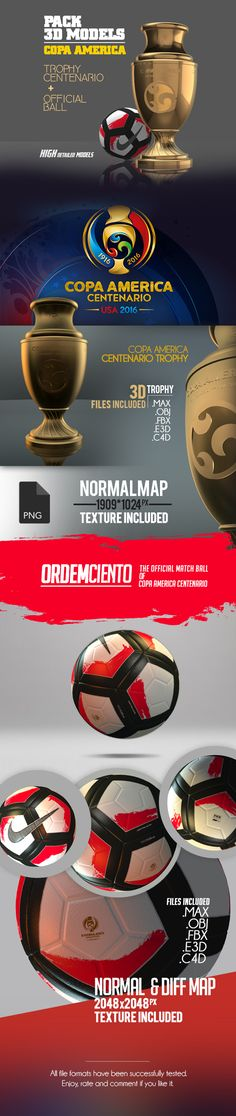 ◚ [GET]□ Pack Copa America Model America Ball Brazil Centenario Ciento Copa Copa America Centenario, 3ds Max, 3d Design, Photoshop, Packing, Football, Nike, Modeling, Club