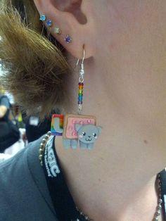 Nyan cat earrings!
