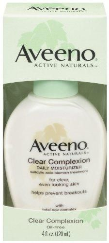 Aveeno Clear Complexion Daily Moisturizer, 4-Ounce Bottle***Size: Pack of 1.Salicylic acid acne treatment with total soy complex,Evens out skin tone, smoothes texture, and clears skin,Fast-absorbing,Gentle enough for sensitive skin,Please read all label information on delivery,.