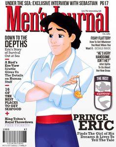 disney movies, magazine covers, princess, journals, journal covers, disney princes, the little mermaid, princ eric, men journal