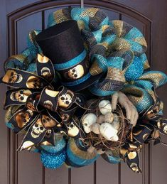 Halloween Wreath with Mummy Hands, Skull Nest & Top Hat