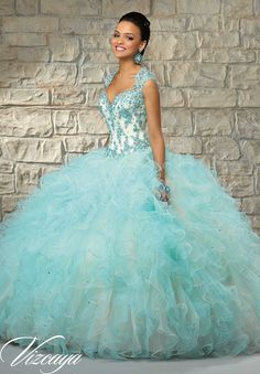 Quinceanera dresses by Vizcaya Contrasting Lace Appliques on Ruffled Tulle with Beading. Matching Stole. Available in Ch/Aqua, Ch/Coral, Ch/Blush