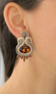 Brown clip on earrings Topaz earrings soutache earrings Soutache Necklace, Topaz Earrings, Etsy Earrings, Beaded Earrings, Clip On Earrings, Earrings Handmade, Beaded Jewelry, Brown Earrings, Silver Hoop Earrings