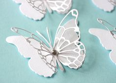 Set of 10 elegant classic  white  two layers lacey die cut butterflies wedding invitations any occastion party decor. $3.20, via Etsy.