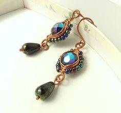 Little black earrings, copper earrings handmade, wire wrapped jewelry. $19.00, via Etsy.