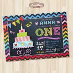 Birthday Chalkboard Invitation. Rainbow chevron. by AngelinaWorks, $15.90