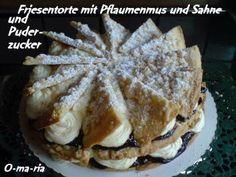 Friesentorte mit Pflaumenmus und Sahne - Rezept