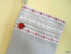 Christmas Stocking Shabby Chic Linen Christmas by ComfyCosyCrafts
