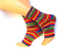 Rainbow striped yoga socks with heel Knit boot by mittenssocksshop