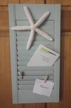 Small Wooden Shutter Upcycled to Beach Themed by CBEUsedBlues