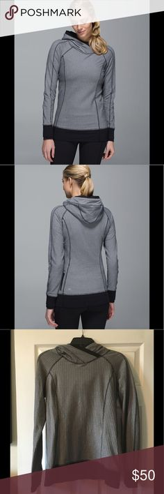 Lululemon Think Fast Hoodie, Herringbone, size 8 Lululemon Think Fast Hoodie in gorgeous herringbone pattern. EUC, size 8.           Buttery-soft Rulu fabric is sweat-wicking and four-way stretch added LYCRA® fibre for great shape retention secure zipper pocket for your essentials cuffs with thumbholes and strategically placed reflectivity help you shine bright even when you layer up lululemon athletica Tops Sweatshirts & Hoodies