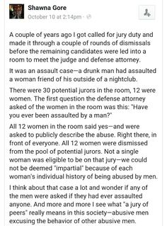 "This is exactly what a ""jury of peers"" is. The attorneys get to decide who stays depending on whether or not they think you will be partial to their side. It's fucked up."