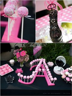 party time with a monogram! OMG I have a little girl that would really go for all this PINK