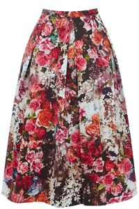 Rose Print Full Skirt