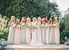 Bridesmaids' Dresses: Allure Bridal - http://www.stylemepretty.com/portfolio/allure-bridal Wedding Dress: Allure Bridal - http://www.stylemepretty.com/portfolio/allure-bridal Groomsmen Attire: Men's Wearhouse - http://www.stylemepretty.com/portfolio/mens-wearhouse Read More on SMP: http://www.stylemepretty.com/2016/06/15/a-wedding-thats-pink-mint-and-pretty-all-over/