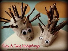 These cute clay creations are so simple & fun to make.   We used:  Air drying clay  Thin small twigs  Googly eyes   Minnie collected the...