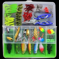 Almighty Fishing Lures  Hard Soft Bait  Spoon Crank Shrimp Jig Fishing Lure Tackle Accessories Kit  Box 101pcs/set #Affiliate
