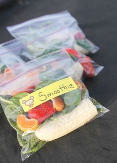 Make bags with everything you need for smoothies. Freeze it and you're ready for a breakfast smoothie in a flash.