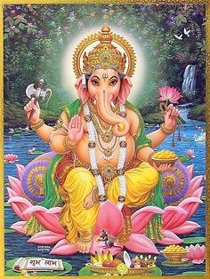 Lord Ganesha Sitting on Lotus Arte Ganesha, Arte Shiva, Ganesha Tattoo, Shiva Hindu, Shri Ganesh, Shiva Art, Hindu Deities, Hindu Art, Buda Wallpaper