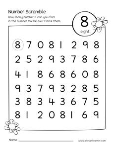 Number scramble activity worksheet for number 8 for preschool children Preschool Number Worksheets, Homeschool Preschool Curriculum, Numbers Preschool, Preschool Lesson Plans, Preschool Learning Activities, Learning Numbers, Preschool Math, Kindergarten Worksheets, Numbers For Kids
