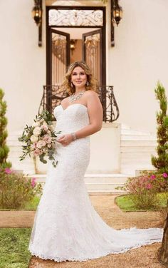 6286+ Plus Size Lace over Satin Fit and Flare Wedding Dress by Stella York
