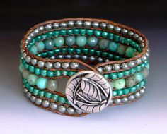 Green Moss Opal Leather Cuff Bracelet 5 Row by GalesJustBeadItShop, $72.00