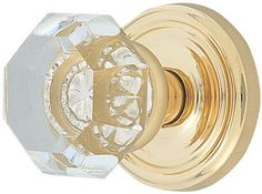 Emtek C820OT Old Town Clear Crystal Privacy Door Knobset with Brass Rosette and