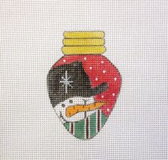 Red Christmas Lightbulb Snowman Ornament Handpainted Needlepoint Canvas #Unbranded