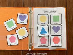 Learning shapes printable pack for preschool busy bag, learning binder