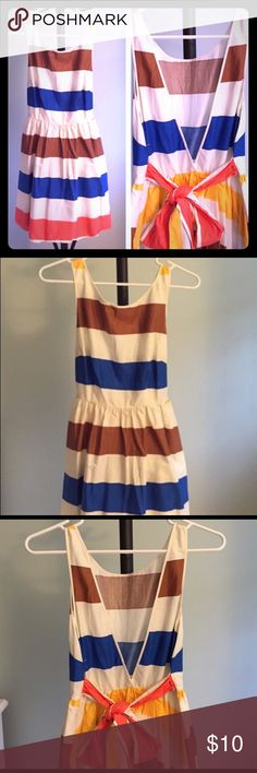 Colorblock Summer Dress Colorblock summer dress with v-neck back. Cute, flirty, and comfortable. Dresses