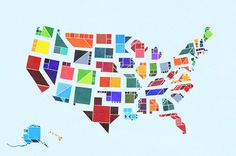The United States, illustrated in tangrams! Well, I guess they're not tangrams precisely, because the shapes vary in size. However, they feature the geometric components of traditional tangrams—squares, triangles, and parallelograms. Anyways, this was really fun to create; Nebraska was the easiest to illustrate, the hardest was either West Virginia or North Carolina.