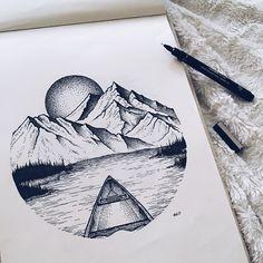 More of my art! - Album on Imgur Arte Tumblr, Mountain Drawing, Art Bin, Epic Drawings, Sharpie Art, Pen Art, Simple Art, Ink Illustrations, Illustration Art
