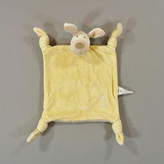 Doudou plat chien velours jaune et beige Obaïbe